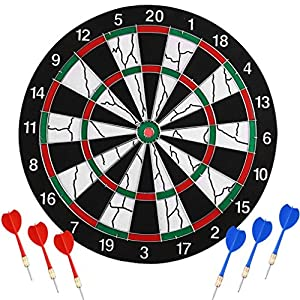 Elegant OUTAD Safety Darts Dartboard, Double Sided Sisal/Bristle Steel Tip Dartboard  Staple Free Bullseye And 6 Darts For Home Office Leisure Games Sports