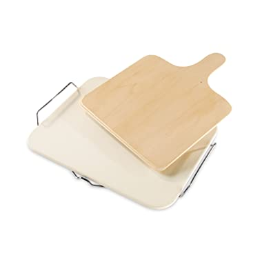 Leifheit Large Square Ceramic Pizza Stone with Carrying Tray and Wooden Spatula, Gray