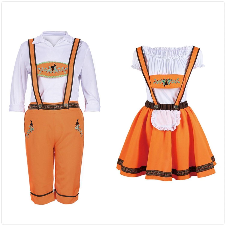 KAGU CULTURE Oktoberfest Liebespaar Damen Herren Dirndl Set - Kleid mit Schürze, Bluse, Trachtenhose, Trachtenhemd, Hut