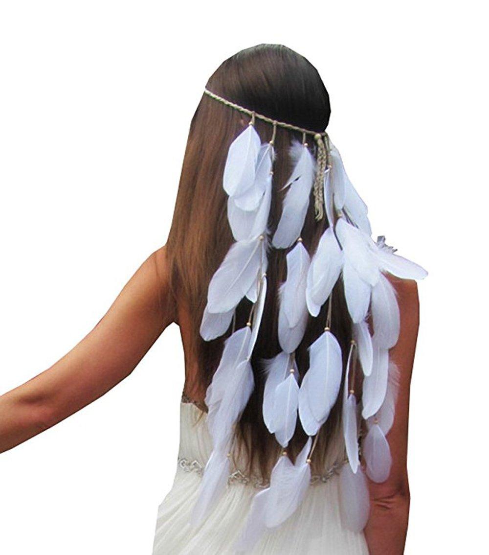 PRAGOO Feather Headband Bohemia Hairband Wedding Bride Headwear White Tassel Fascinator