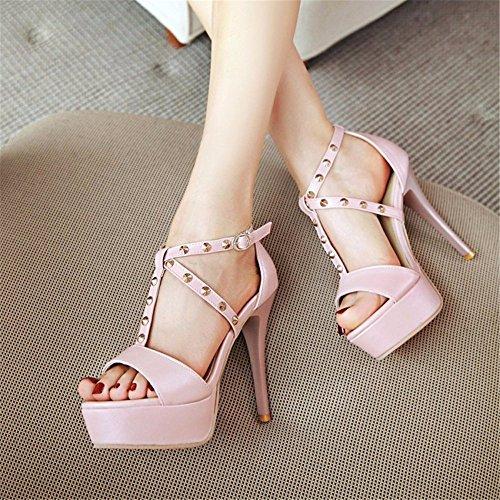 Fashion per tacco Toe Ms a sandali estivi alto banchetti a Pink YMFIE Tacchi spillo Sexy Rivetti Open spillo zFwBqA