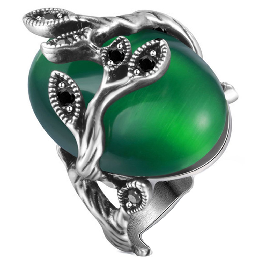 JAJAFOOK Women's Oval Cut Emerald Timbo Winding Zircon Cocktail Ring,Vintage Bridal Engagement Ring