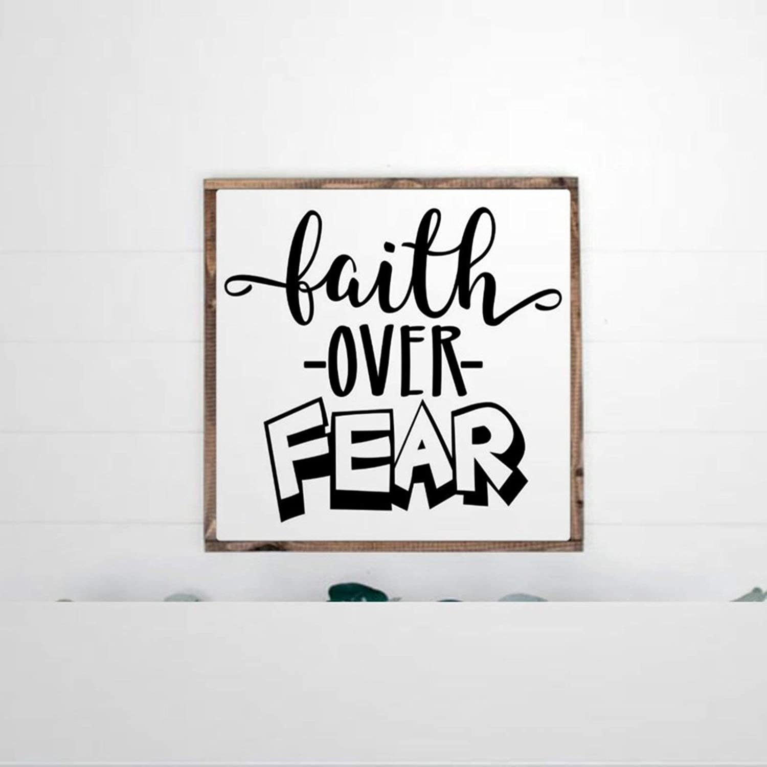 DONL9BAUER Framed Wooden Sign Faith Over Fear Wall Hanging Bible Verse Wood Sign, Scripture, Christian, Inspirational Farmhouse Home Decor Wall Art for Living Room