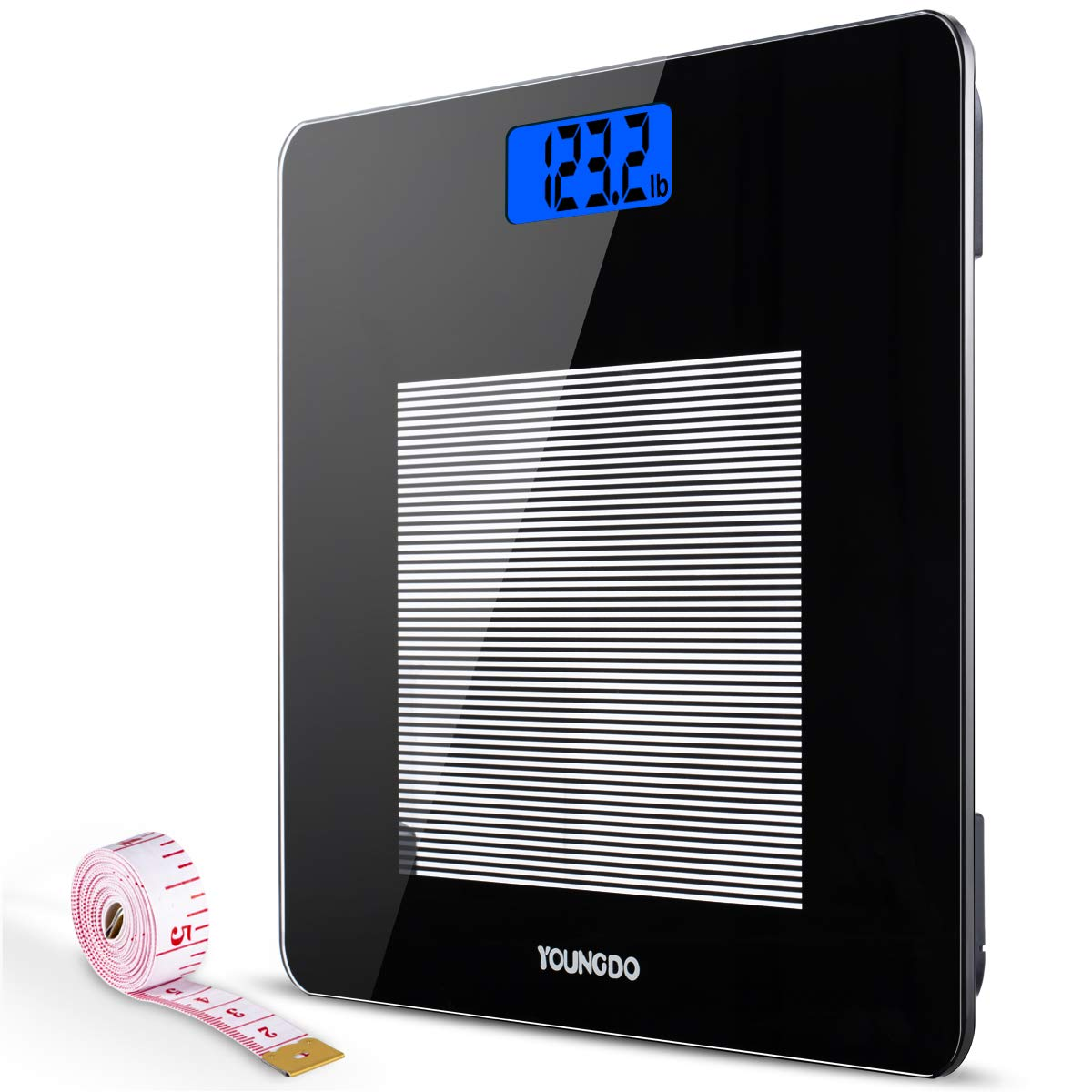 Amazon com youngdo digital bathroom scale highly accurate body weight scales with body tape measure large blue lcd backlight display 400 pounds health