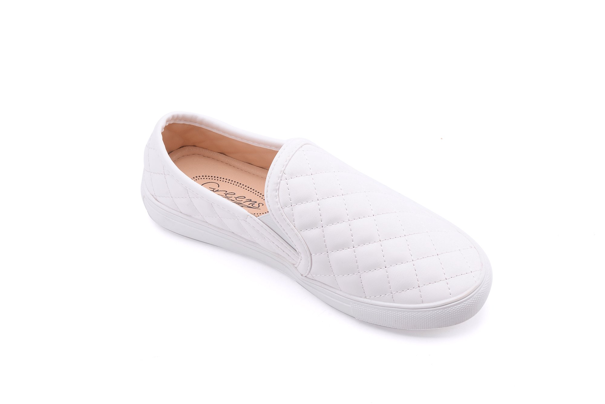 GREENS Wanta Women Canvas Fierce Quilt Pattern Slip On Fashion Sneakers, White 10 by GREENS (Image #2)