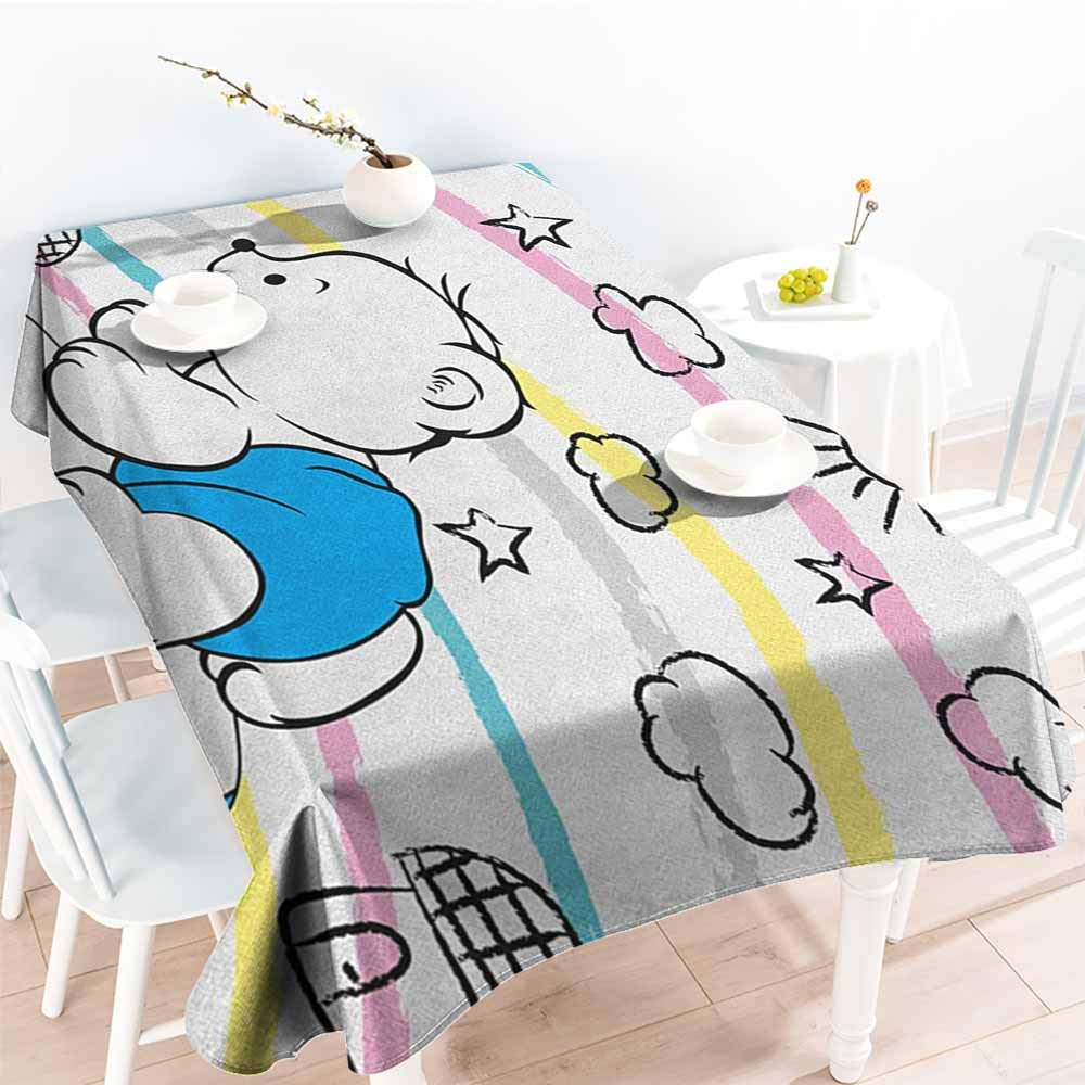 familytaste Bear,Waterproof tablecloths Children Kids Theme Cute Doodle Toy with Clouds Sun Moon and Houses Colorful Stripes 70''x 102'' Rectangular Tablecloth