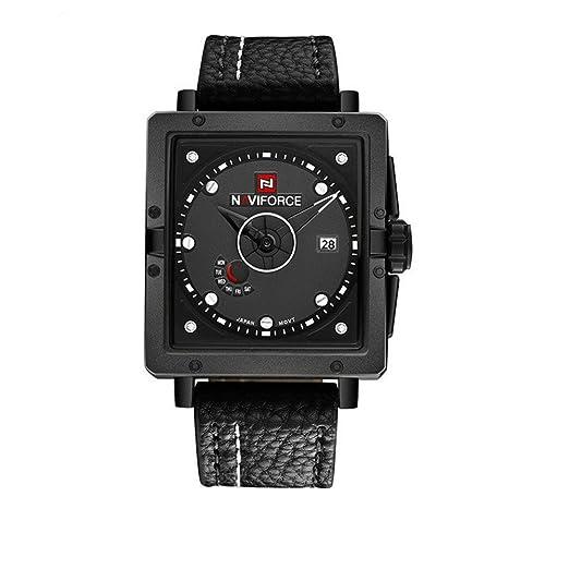 Clásico de los hombres cuadrados reloj esqueleto relojes de moda duradera negro dial suave correa de cuero popular de bajo costo al aire libre: Amazon.es: ...