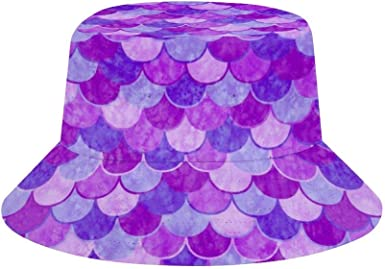 Beach Unisex Hiking Sports Pink Mermaid Fish Scale Wide Brim Outdoor Summer Cap NA Bucket Hats