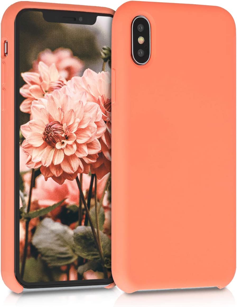 kwmobile TPU Silicone Case Compatible with Apple iPhone Xs - Soft Flexible Rubber Protective Cover - Papaya