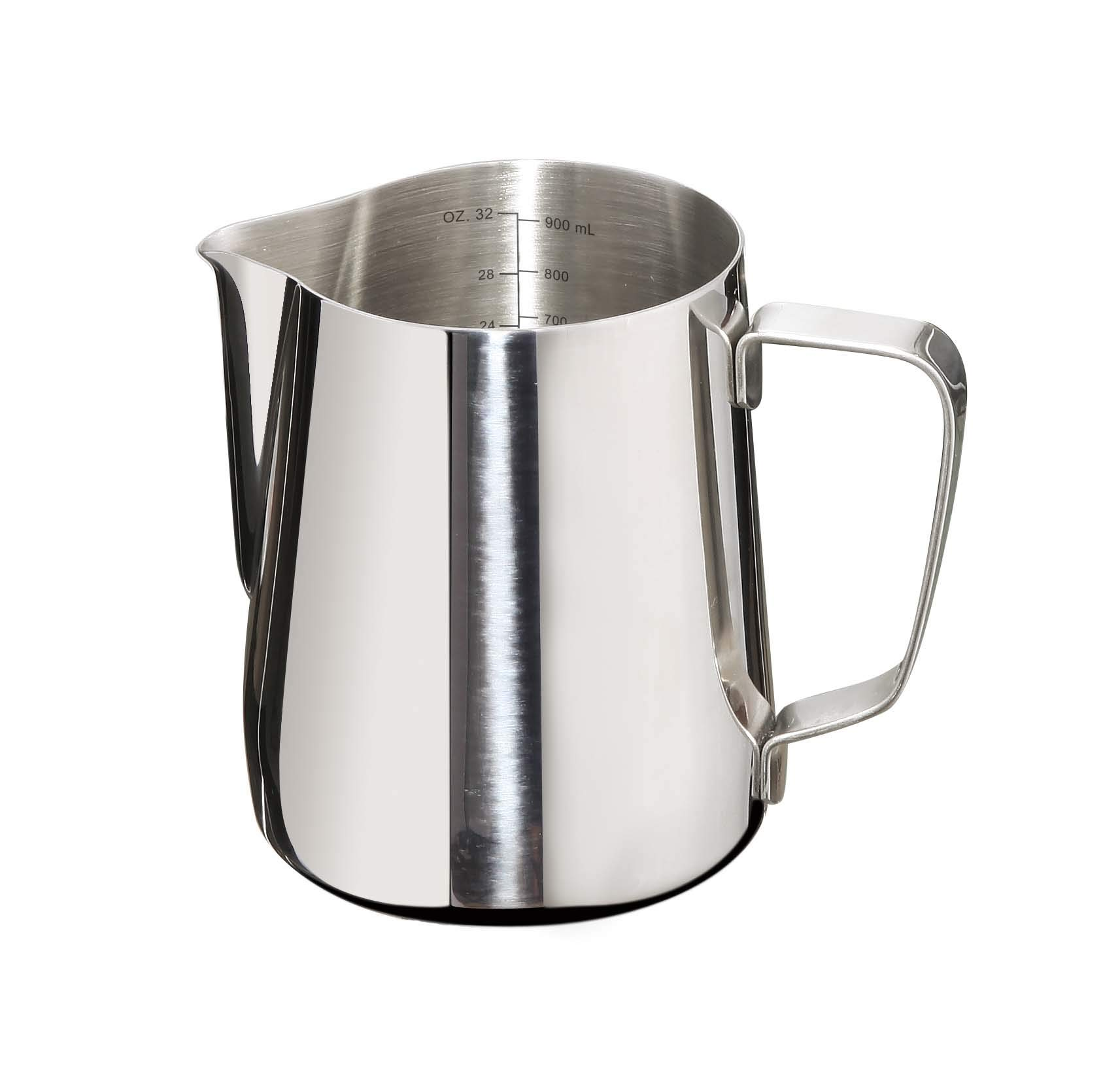 Joytata Milk Frothing Pitcher 32oz Stainless Steel Cup with Double Measurement Scales Perfect for Latte Art,Espresso Maker,Cappuccino Maker-18/8 Stainless Steel Milk Frother Pitcher Steaming Pitcher by Joytata