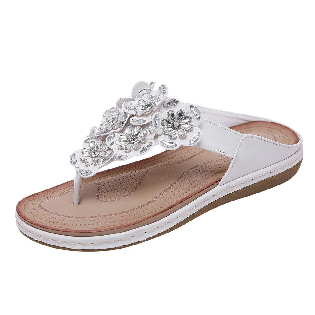 LuluZanm Roman Sandals for Women,Ladies Bohemia Crystal Flower Large Size Beach Shoes Peep-Toe Buckle Durable Flip Flop White