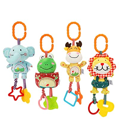 Veecome Baby Kids Rattle Toys Cartoon Animal Plush Toys Stroller Crib Hanging Infant Gifts Multifunctional Animal Wind Chime (Set of 4) 10657: Toys & Games