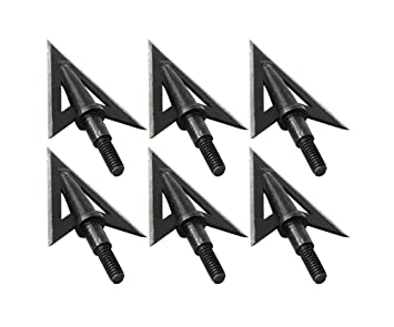 100 Grain 6pcs Metal Broadheads 3 Fixed Sharp Blade Hunting Archery Arrow Heads