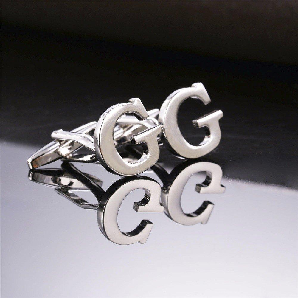 MESE London Buchstabe Name G Initiale Manschettenkn/öpfe Versilbert in Luxus Geschenkbox