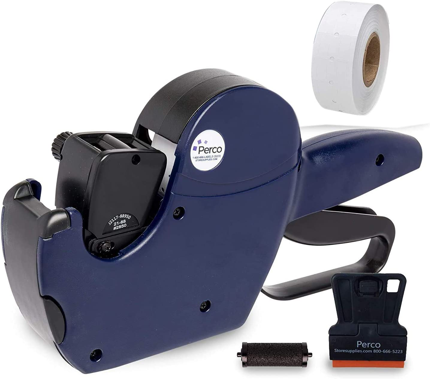 Perco Pro 2 Line Price Gun, 8 Digit 2 Line Price Label Gun Preloaded with Roll of 750 White Labels & Inker