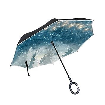 Wamika - Paraguas de Invierno para Mujer y Hombre, diseño de Paisaje de Bosque con