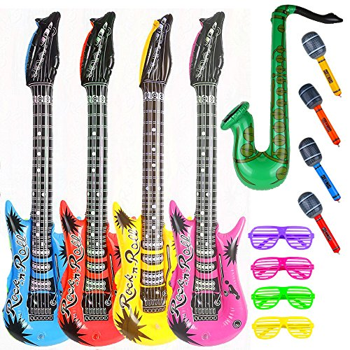 Party Inflatable Rock Star Toy Set,13 Pack Different Colors,4 Designs Inflatable Toy set,4 Electric Guitar,4 Microphones ,4 Shutter Shading Glasses and 1 Saxophone,for Concert Theme Party Favors Combination Microphone