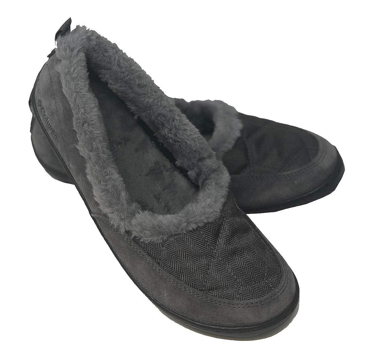 Columbia Womens Powder Summit Moc Herringbone Suede Fur Slip On Slippers Shoes