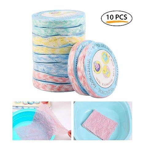 Pawaca - 10 Toallas de compresión, Reutilizables de algodón Puro comprimido para Viajes, Acampada