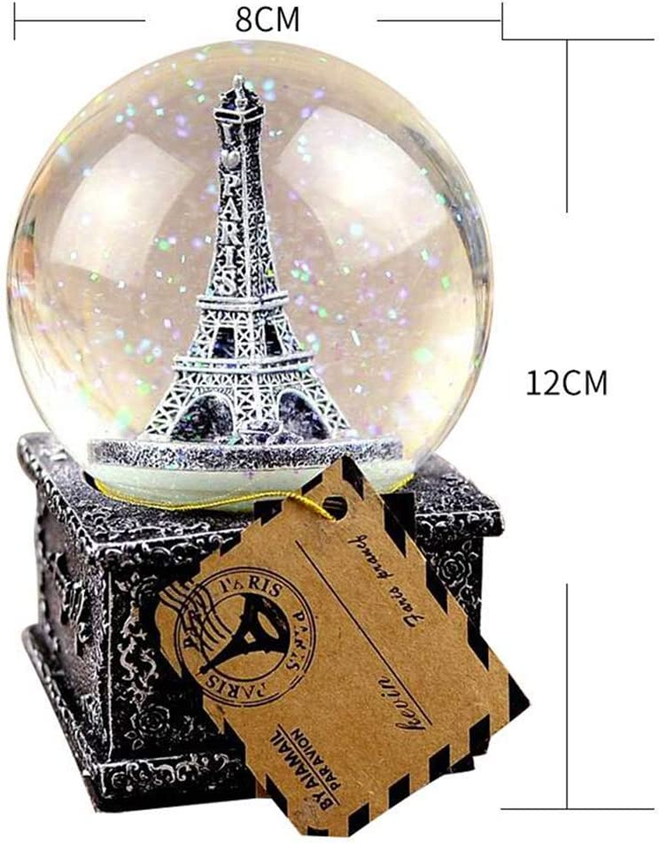 LED LIGHT PARIS EIFFEL TOWER /& CIRCLE WIND UP MUSIC BOX CANON IN D