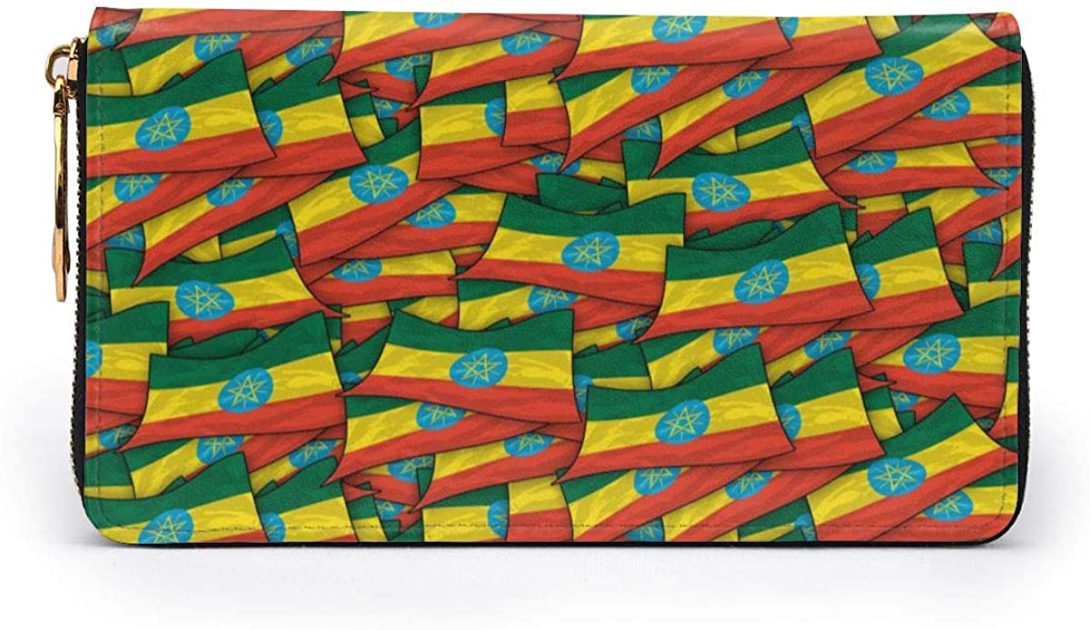 Ethiopia Flag Wave Collage Womens RFID Blocking Zip Around Wallet Genuine Leather Clutch Long Card Holder Organizer Wallets Large Travel Purse