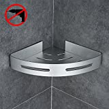 Gricol Bathroom Shower Corner Shelf Triangle Wall Shower Caddy Space Aluminum 3M Adhesive No Damage Wall Mount