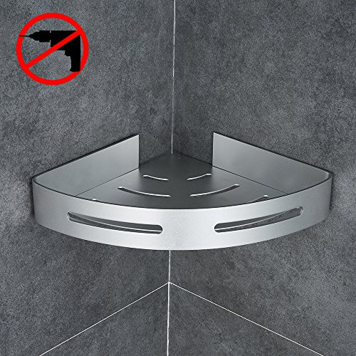 Gricol Bathroom Shower Corner Shelf Triangle Wall Shower Caddy Space Aluminum 3M Adhesive No Damage Wall (Install Shower Wall Tile)