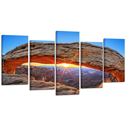 Kreative Arts Sunrise at Mesa Arch in Canyonlands National Park Utah USA 5 Panel Landscape Giclee Print Canvas Wall Art for Home Office Decor Ready to ...