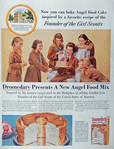 Dromedary Angel Food Mix, 50's Print ad. Full page Color Illustration (founder of the Girl Scouts, Juliette Gordon Low) Authentic original Vintage 1956 McCall's Magazine Print Art ()