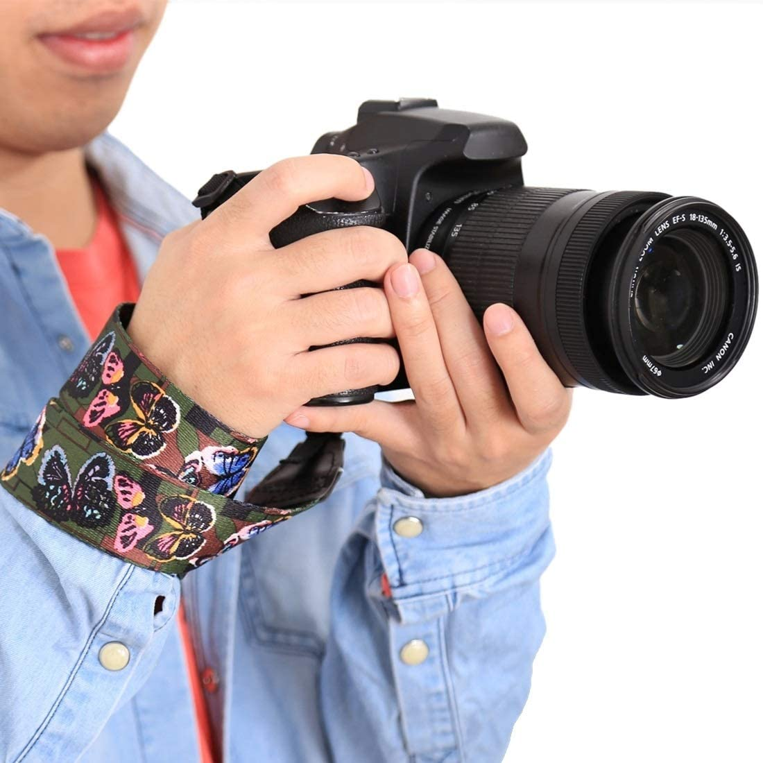YANTAIANJANE Camera Accessories Retro Ethnic Style Multi-Color Series Butterflies Shoulder Neck Strap Camera Strap for SLR//DSLR Cameras Color : Color2