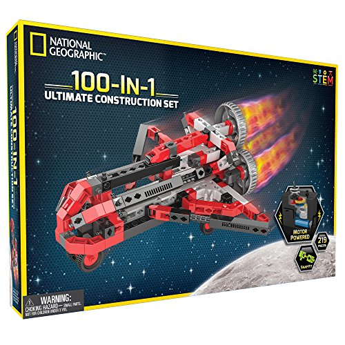 Motorized Set (NATIONAL GEOGRAPHIC Ultimate Construction Engineering Set - Build 100 Unique Motorized Models: Helicopters, Cars, Animals and More - STEM Learning)