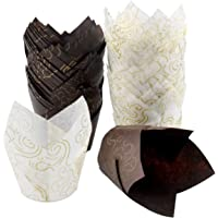 Dokpav Muffin koffer, 100 stuks Cupcake Cases, Tulp Greaseproof Papier Muffin Wraps, Muffin Liners, Bakkisten, Wraps…