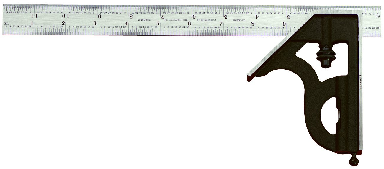 Starrett 11H-18-16R Combination Square with Cast Iron Head and Black Wrinkle Finish