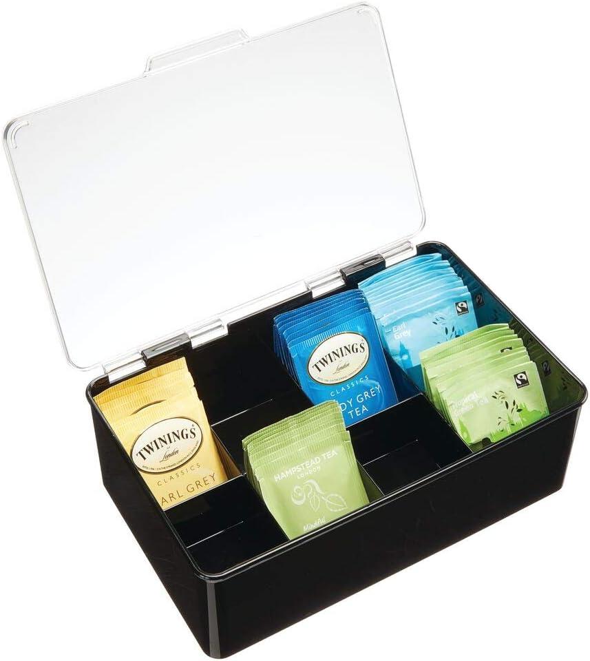 mDesign Caja para té con Cubierta – Cajas de plástico con Tapa para Guardar bolsitas de té, cápsulas y monodosis de café y más – Moderna Caja con Compartimentos para infusiones – Negro/Transparente
