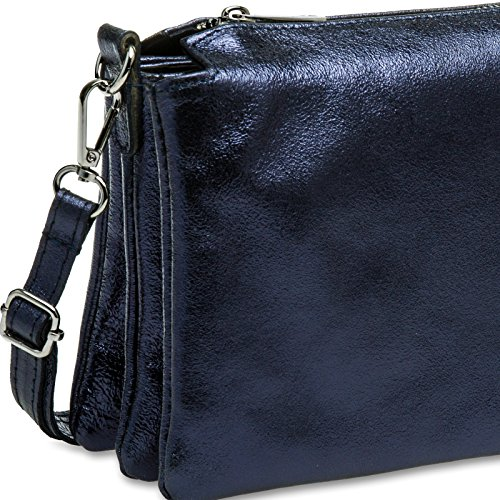 Bag Shoulder Genuine Blue Ladies Dark Leather Metallic CASPAR TL776 AcaUvqW6