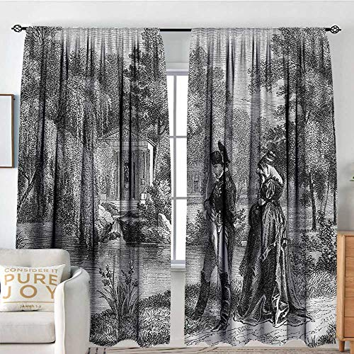 Petpany Living Room Curtains Vintage,Historical French Revolution Sketch with Napoleon and Woman in Garden Artwork,Dark Grey Black,All Season Thermal Insulated Solid Room Drapes 60