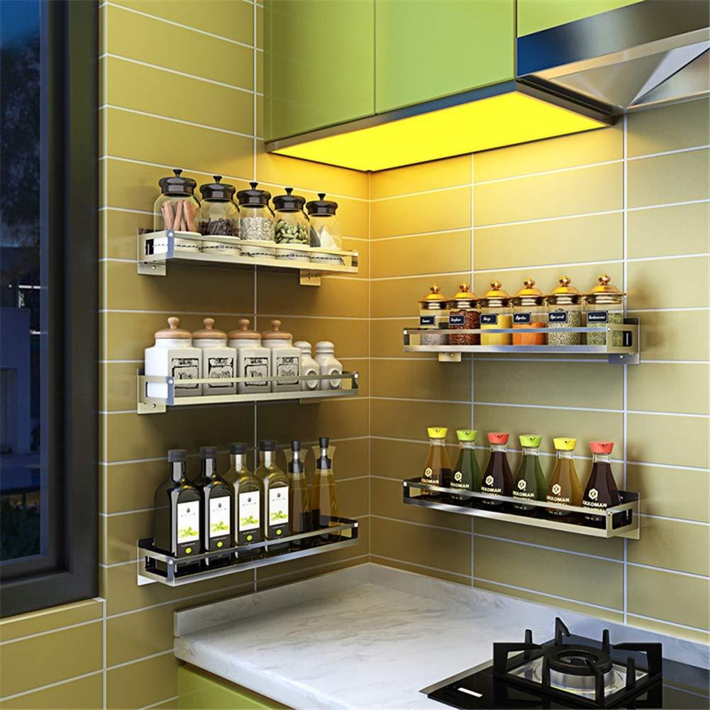 facile da montare,F Scaffale di spezie fissato al muro Scaffale del contenitore di spezie dello scaffale di stoccaggio del condimento dellacciaio inossidabile 201 per la cucina