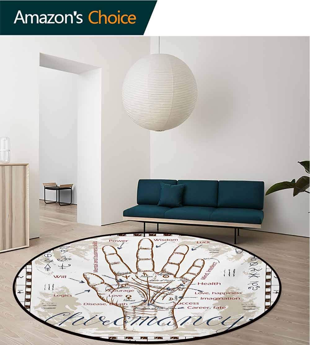RUGSMAT Occult Round Area Rug,Vintage Chiromancy Chart with an Human Hand Palm Mystic Science of Universe Image Print Indoor/Outdoor Round Area Rug,Round-55 Inch Beige by RUGSMAT (Image #2)