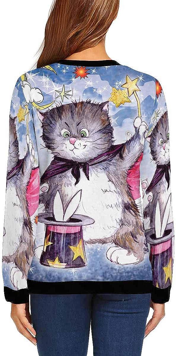 INTERESTPRINT Womens Casual Sweatshirt Funny Cat Crew Neck Pullover Tops XS-XL