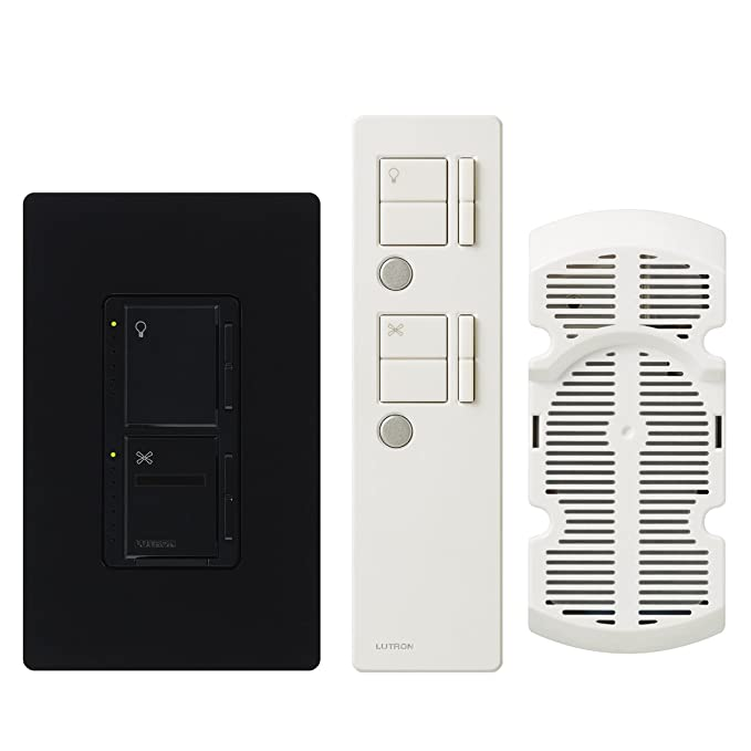 Amazon.com: Lutron Maestro IR Fan Control and Light Dimmer for Incandescent and Halogen Bulbs, with IR Remote Control and Wallplate, Single-Pole or ...