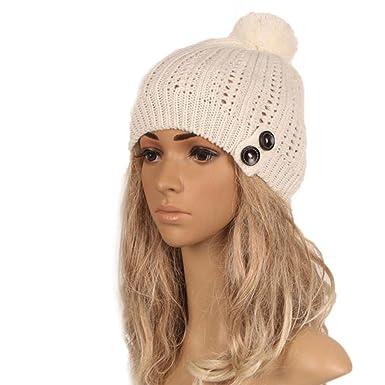 Strickmützen Damen Hüte Winter Mütze Button Warm Caps Frauen Mütze ...