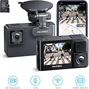 AKASO 2K Dual Dash Cam Built-in WiFi and External GPS, Front and Inside Car Camera Recorder with Sony Starvis Sensor 32GB Card Included (2020 New Version Trace 1 Pro)