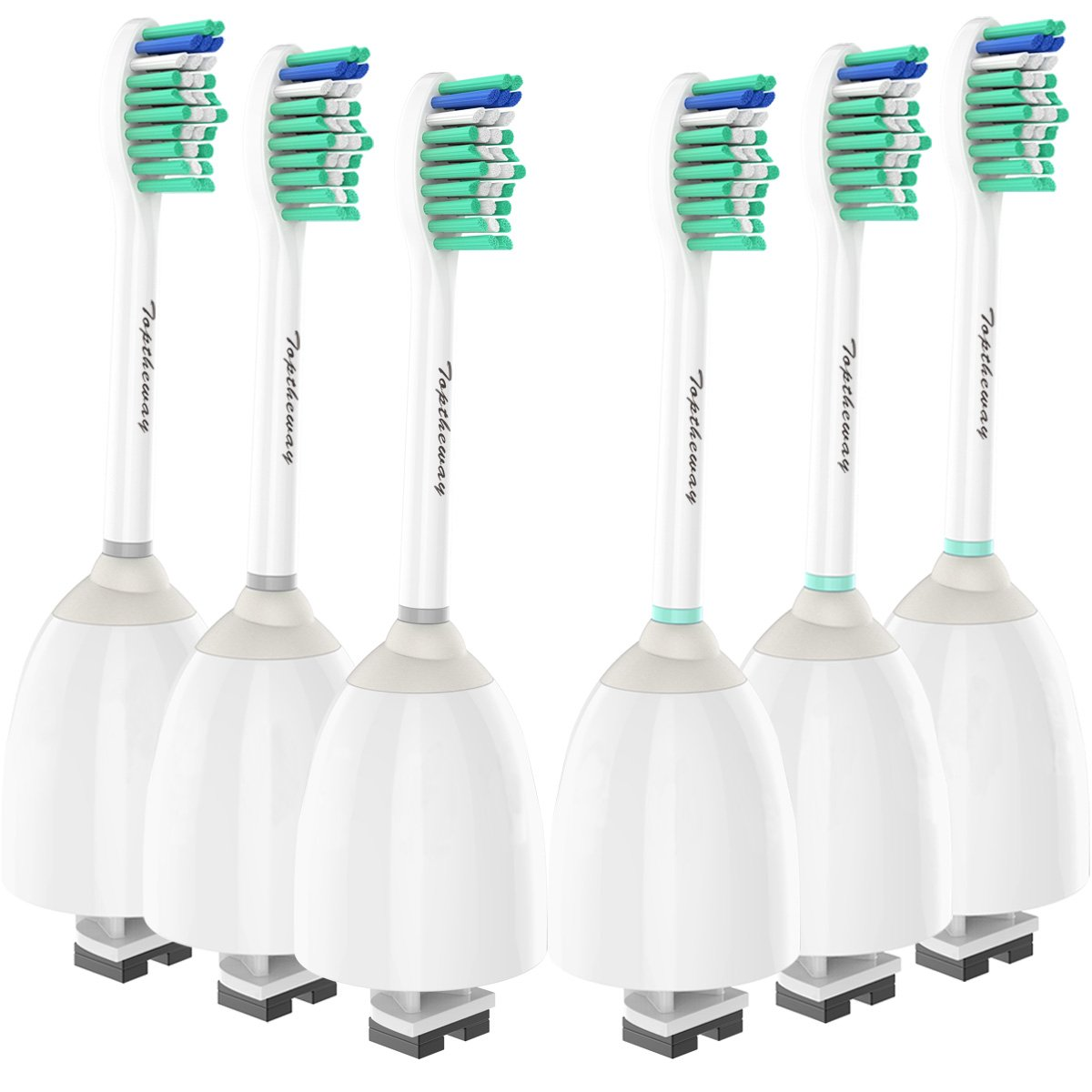 Replacement Brush Heads for Philips Sonicare E-Series Toothbrush HX7022/66, Fit Sonicare Essence, Xtreme, Elite, Advance and CleanCare Screw-On Philips Handles, 6 Pack by Toptheway by Toptheway (Image #1)