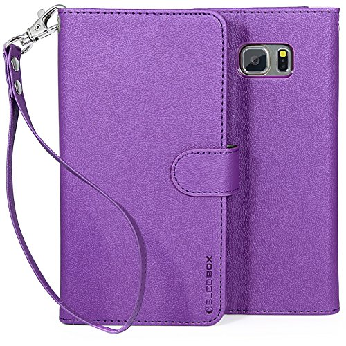 Galaxy S6 Edge Plus Case, BUDDIBOX [Wrist Strap] Premium PU Leather Wallet Case with [Kickstand] Card Holder and ID Slot for Samsung Galaxy S6 Edge+, (Purple)