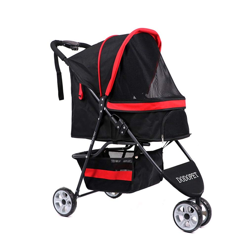 Black LJJYN Pet stroller Pet tricycle Cat and dog cart Fast folding cart easy inssizetion Easy to disassemble, bluee