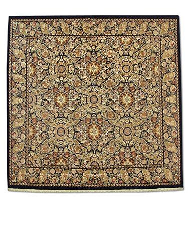 Traditional Persian Handmade Aubusson Square Rug, Wool, Black, 9' 11