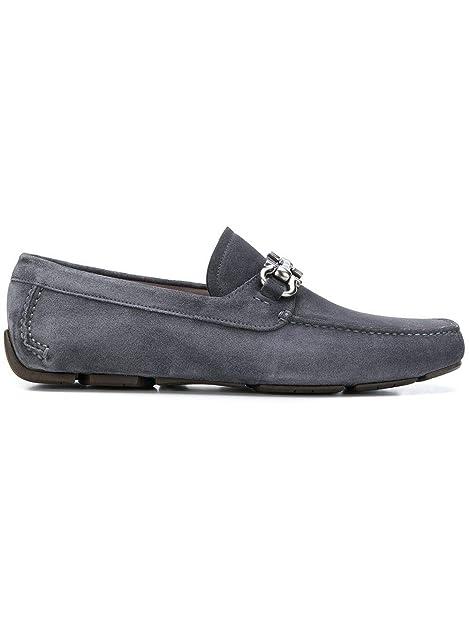 Salvatore Ferragamo Hombre 694979 Gris Gamuza Mocasín: Amazon.es: Zapatos y complementos
