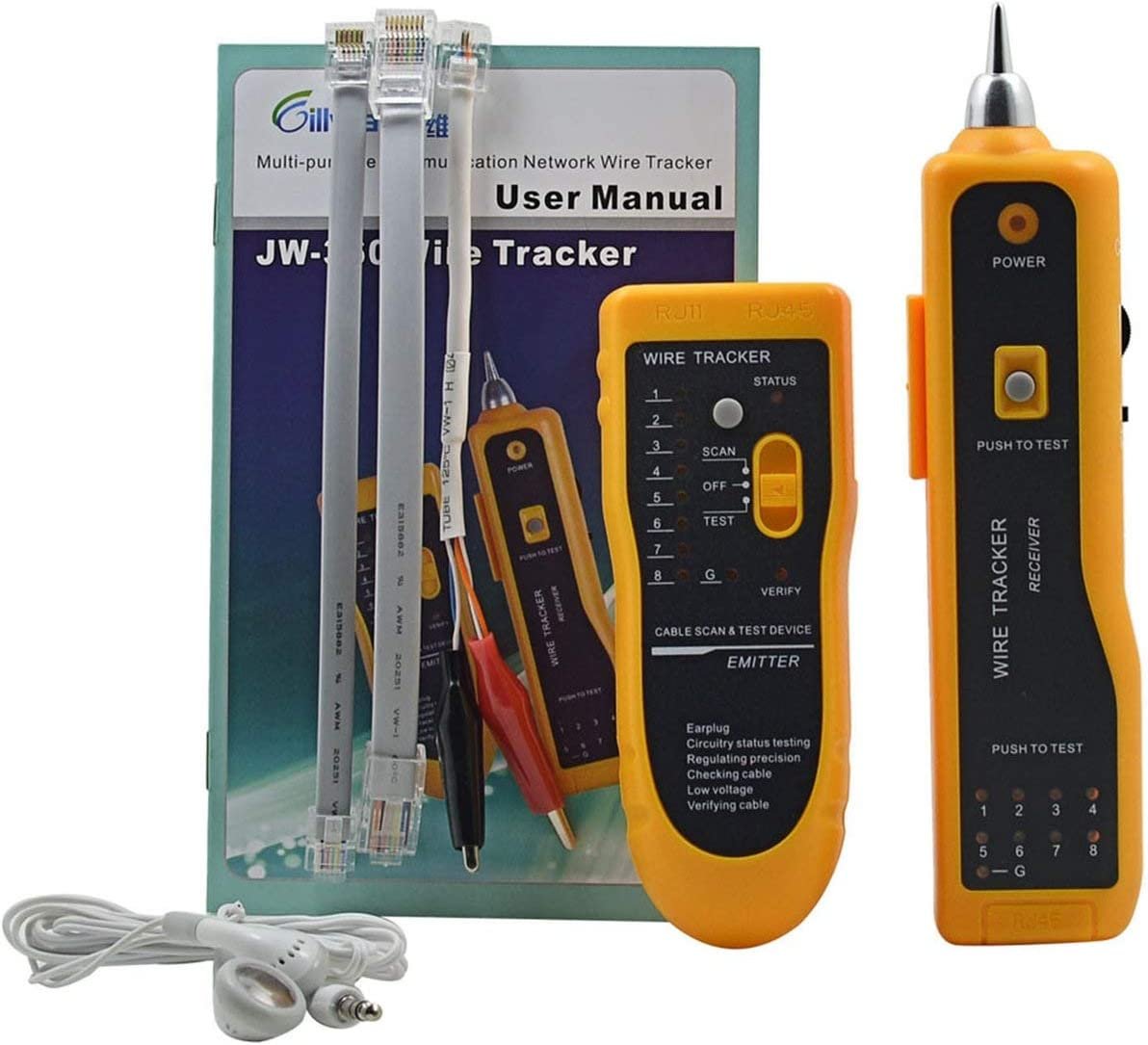 Romerofs JW-360 LAN Network Cable Tester Telephone Wire Tracker Diagnose Tone Tool Kit RJ45 RJ11 Line Finding Sequence Testing