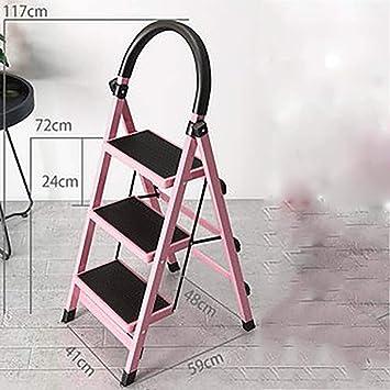 Mini escalera plegable, escalera de acero portátil, ligera, multifunción, antideslizante, para el hogar, cocina, garag, rosa: Amazon.es: Bricolaje y herramientas