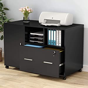 Tribesigns Large File Cabinet with Lock and Drawer, Modern Mobile Lateral Filing Cabinet Printer Stand Legal/Letter / A4 Size with Wheels and Storage Shelves for Home Office (Black)